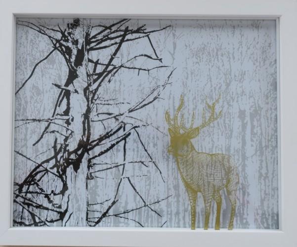 Hirsch, Serigraphie auf Glas, 24cm 30cm, 2018