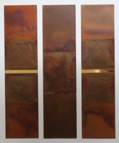 Claims No 124-126, Säurekorrosion auf Stahl, Blattgold 24 Karat, 2020, je 80 cm x 20 cm