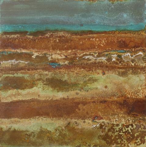Painted Desert, Säurekorrosion auf Stahl, 2019, 40cm x 40cm