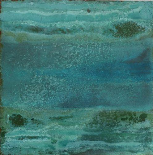 Lago I, Säurekorrosion auf Stahl, 2020, 40 cm x 40 cm