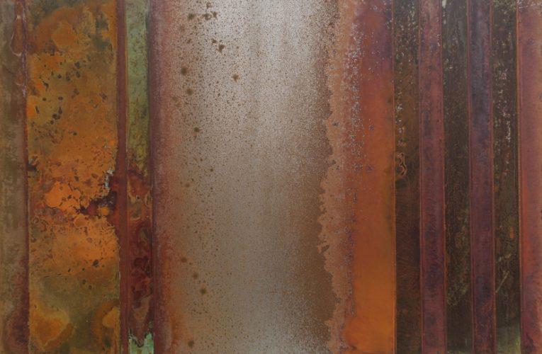Stripes IV, Säurekorrosion auf Stahl, 2019, 40cm x 60 cm